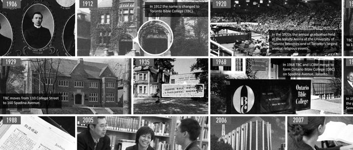 Collage of historic images of Tyndale buildings and students with dates