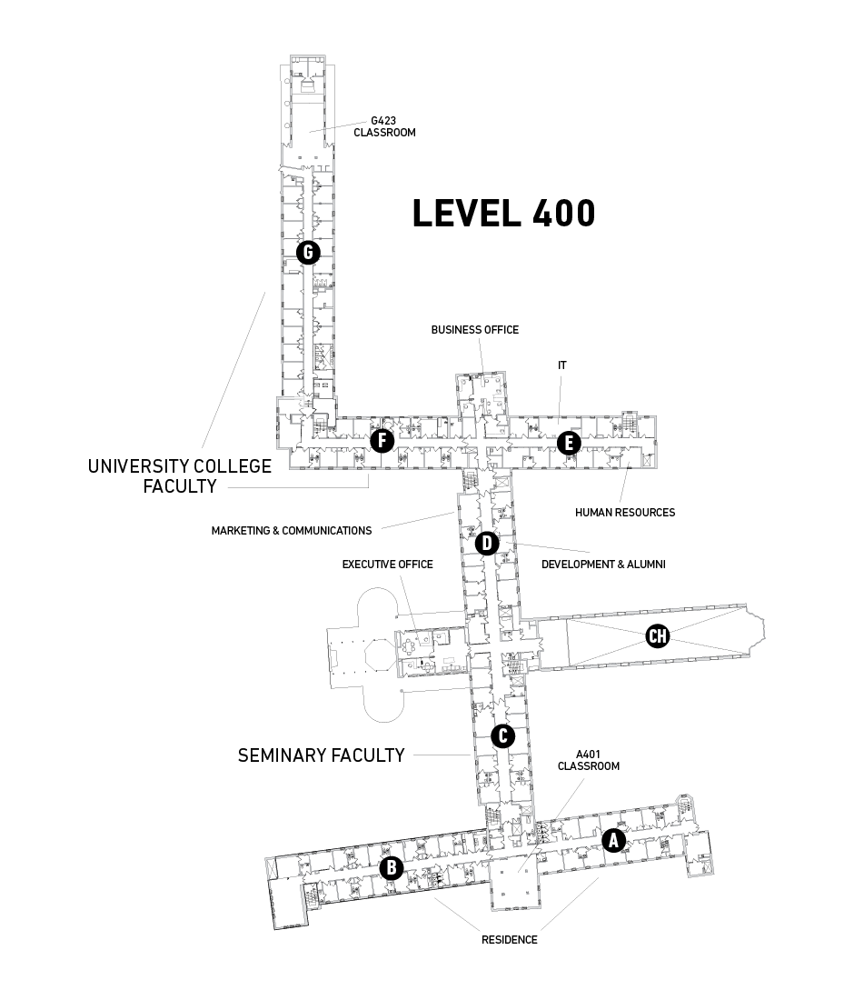 Map of Tyndale Bayview Campus Level 400