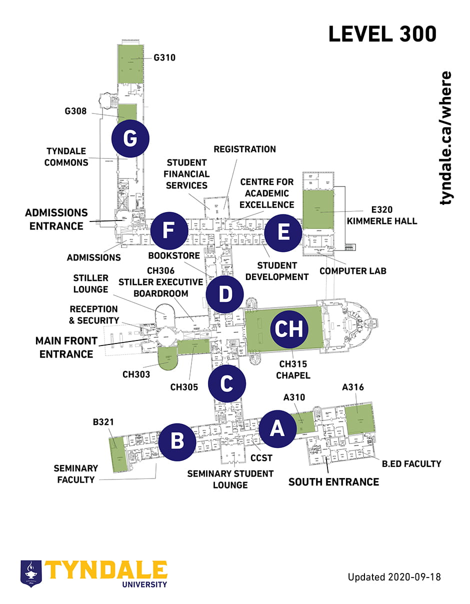 Map of Tyndale Campus Level 300