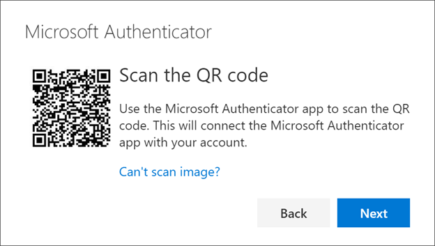 Microsoft Authenticator Scan the QR code page