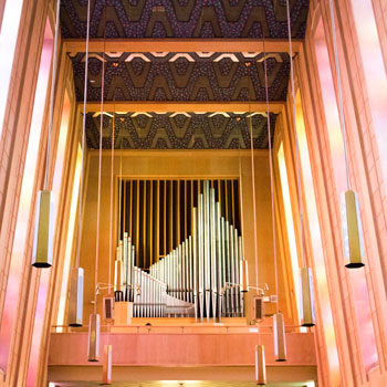 Pipe organ at the back of the chapel