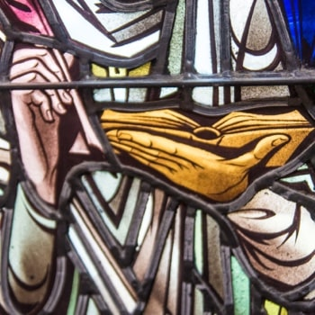 close up details of a stained glass window
