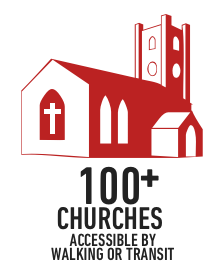 100+ churches accessible by walking or transit