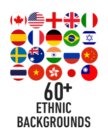 60+ ethnic backgrounds