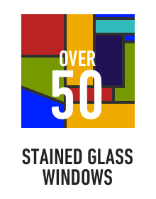 Over 50 beautiful stained glass windows around campus
