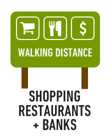 Shopping, restaurants and banks within walking distance of campus