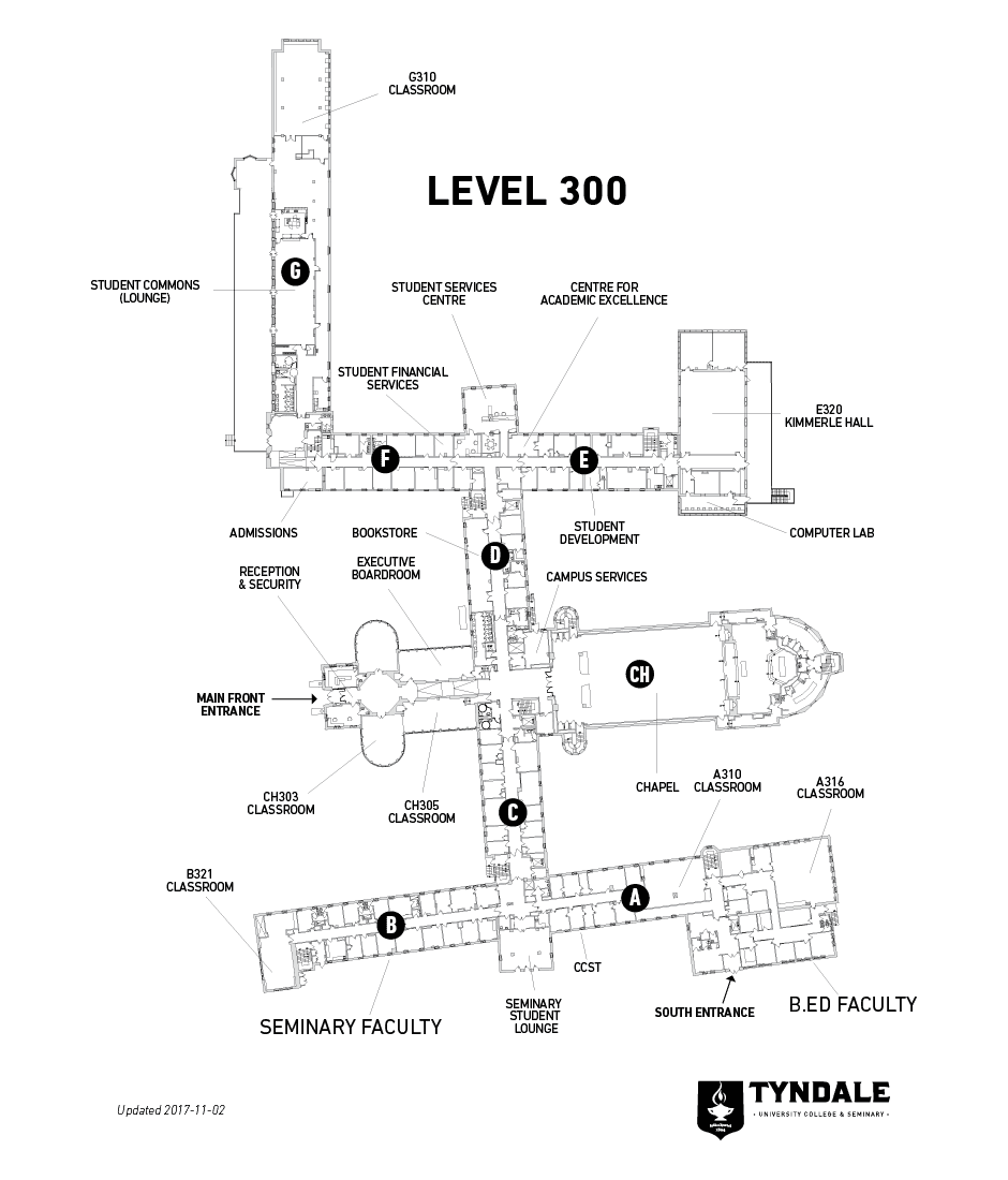 Map of Tyndale Bayview Campus Level 300