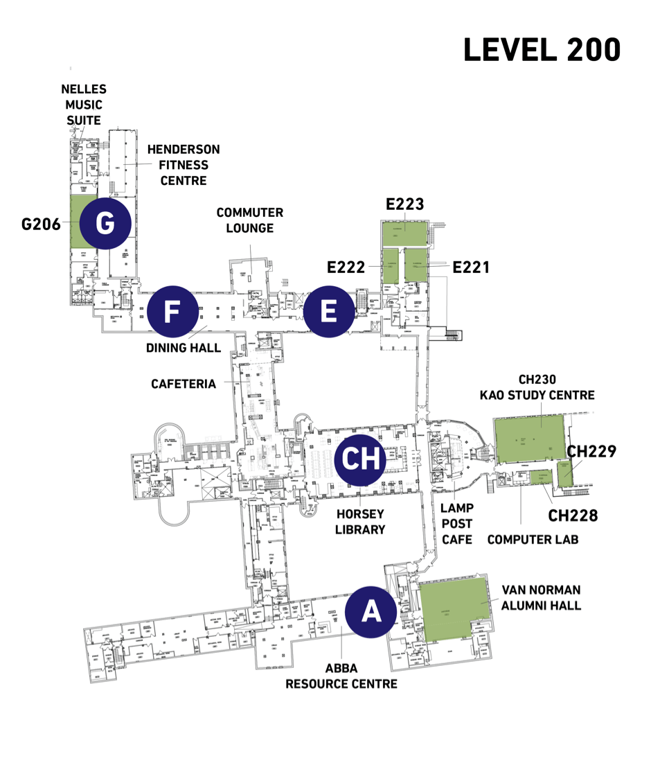 Map of Tyndale Campus Level 200
