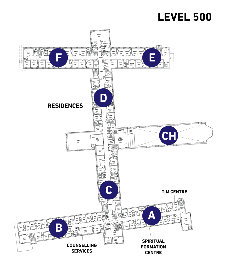 Map of Tyndale Campus Level 500