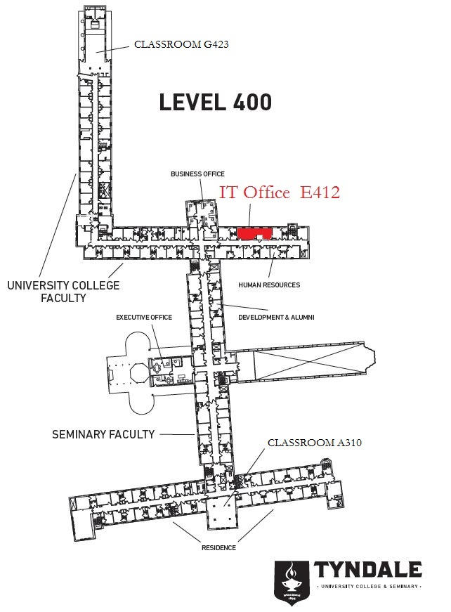 Map of Tyndale Bayview Campus Level 400 with IT Office location marked