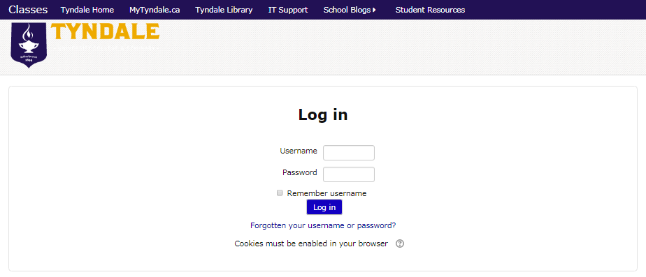 Login page on classes.tyndale.ca