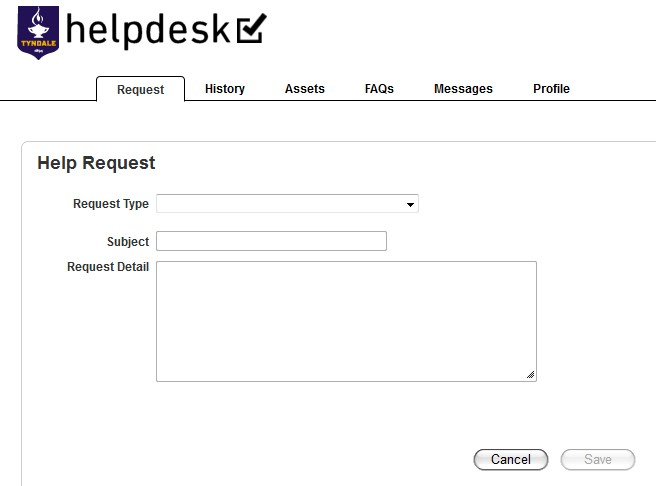helpdesk.tyndale.ca create help request form fields