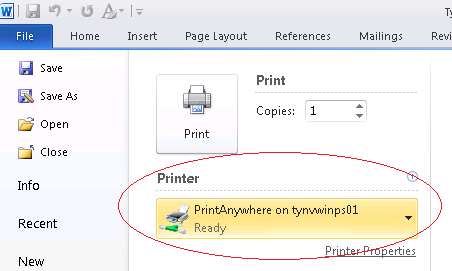 "Microsoft Word Print menu showing ""PrintAnywhere"" selected as printer"