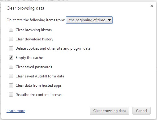 Google Chrome Clear browsing data screen