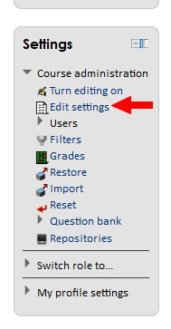 "class.tyndale.ca Settings menu with ""Edit settings"" link highlighted"