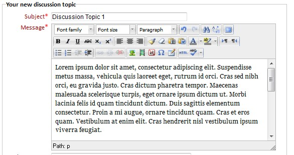 Screenshot of forum post edit form with subject and message fields filled out