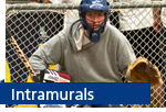 intramurals with hockey goalie in net