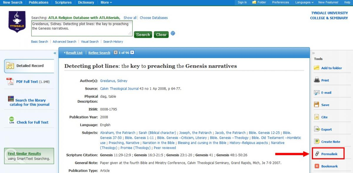 "Ebsco database article page with ""permalink"" menu item highlighted"