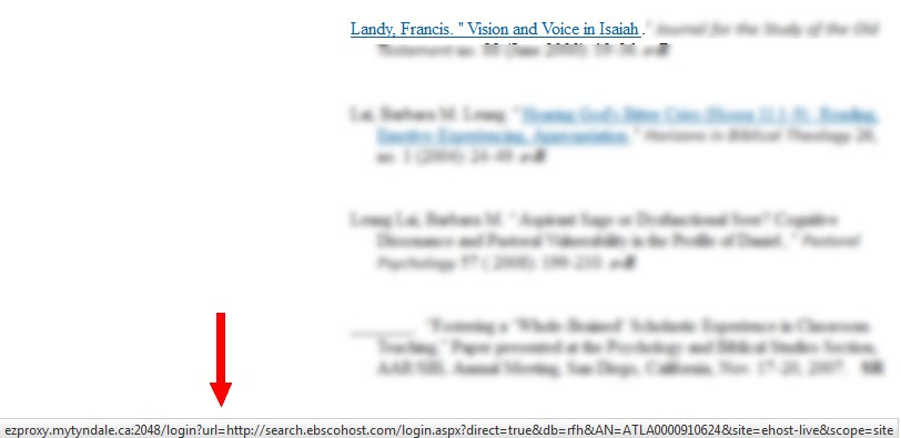 Ebsco article link as seen in status bar of browser