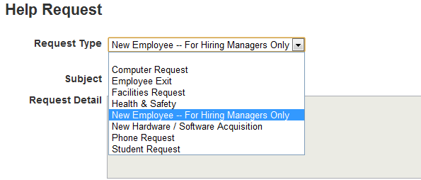 "helpdesk.tyndale.ca create help request page with ""New employee - for hiring managers only"" option selected in ""Request type"" dropdown list"