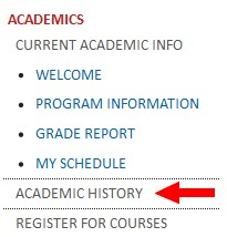 Screenshot of MyTyndale Academics menu with Academic History link highlighted
