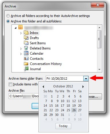 "Archive dialogue box with ""Archive items older than"" date select highlighted"