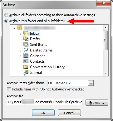 Archive dialogue box with Inbox folder selected