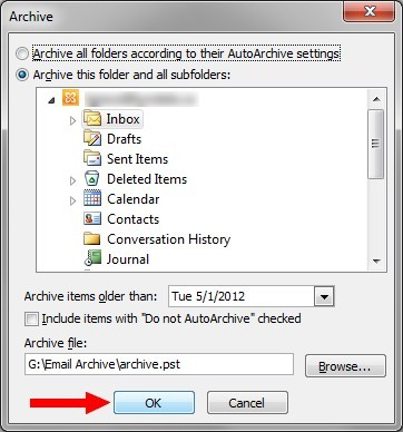 "Outlook Archive screen with ""OK"" submit button highlighted"