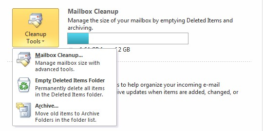 Microsoft Outlook Mailbox Cleanup screen