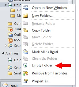 "Microsoft Outlook Junk folder right-click menu with ""Empty folder"" option highlighted"