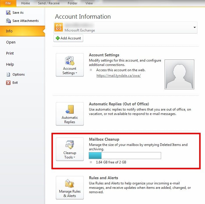 "Outlook Account Information screen with ""Mailbox Cleanup"" option highlighted"