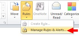 "Microsoft Outlook Rules menu item with ""Manage Rules & Alerts..."" option selected"