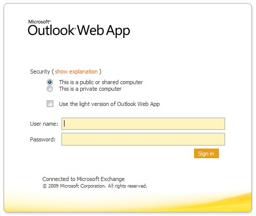 Microsoft Outlook WebApp sign-in screen