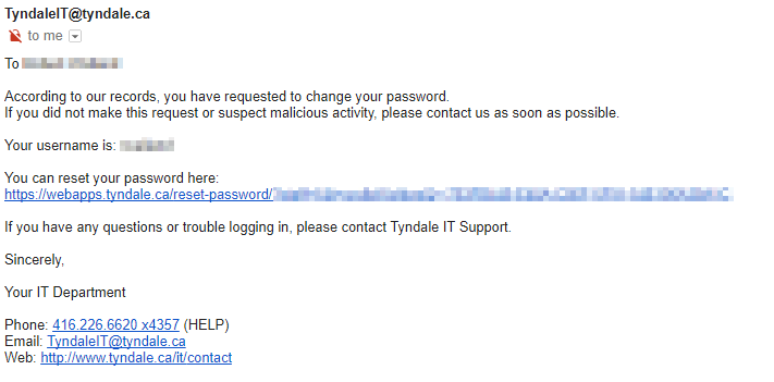 Reset Your MyTyndale Password | Tyndale