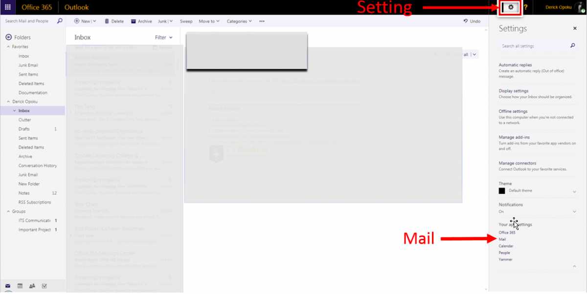 Office365 Webpage Mail Forwarding location