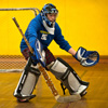 Goalie playing floor hockey