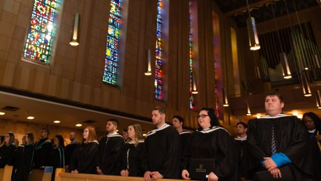 Graduates in Chapel during the ceremonies