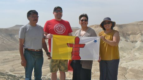 Inuit Students with Rev. Royal holding Inqaluit flag in Israel