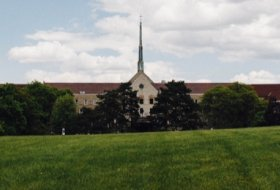 a view of the Tyndale campus from the front lawn