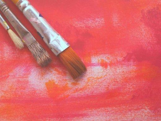 artists brush on canvas