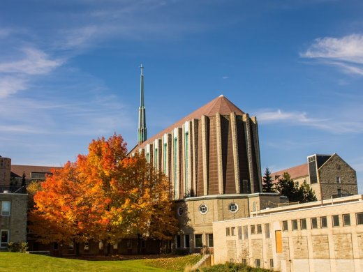 Shot of Tyndale's chapel on the Tyndale Bayview campus during the fall