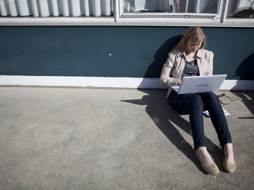 Female student using a laptop