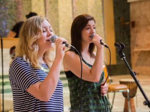Two female singers performing in Tyndale's Chapel