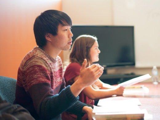 Student talking in classroom