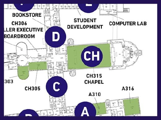 A map of Tyndale's Campus