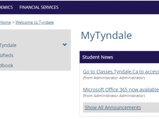 a preview of the myTyndale website, including links to