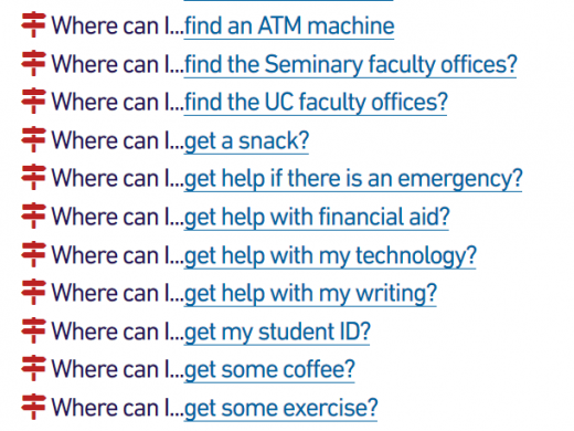A list of links that detail where to find various things around campus