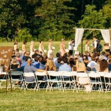 an outdoor wedding on the Tyndale Campus