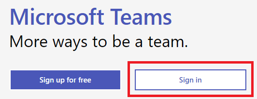 "the Microsoft Teams sign in page, with the white ""Sign In"" button highlighted."