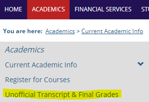 Official Transcript & Final grades
